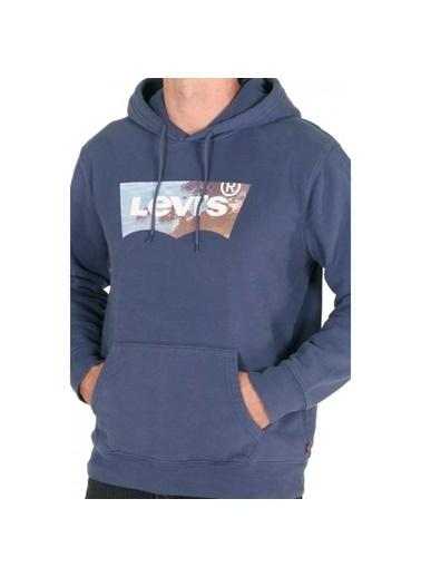 Levi's® 194910130 Logo Desenli Kapüşonlu Erkek Sweatshirt Mavi